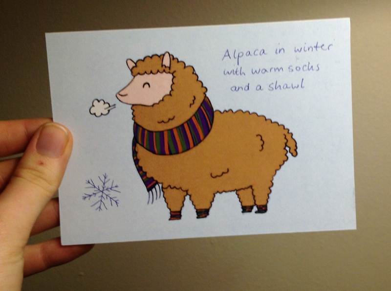 Alpaca postcrossing card