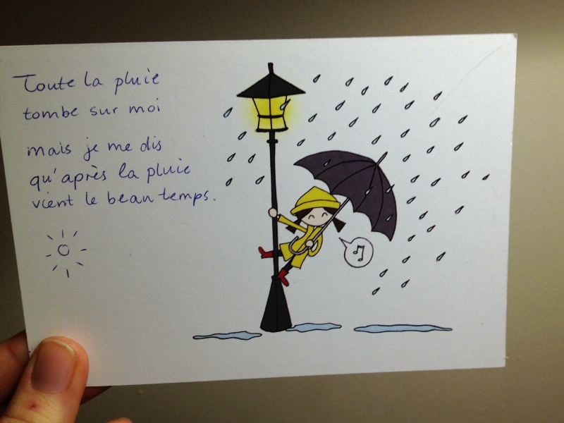 singing in the rain postcrossing card
