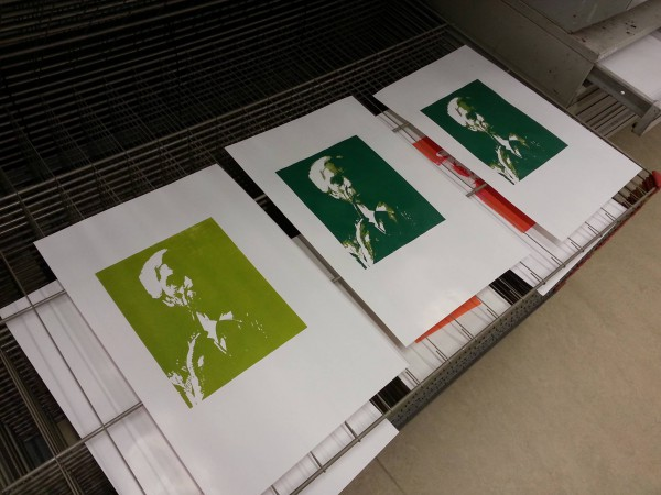 Screenprinting a portrait of Bertrand Russell