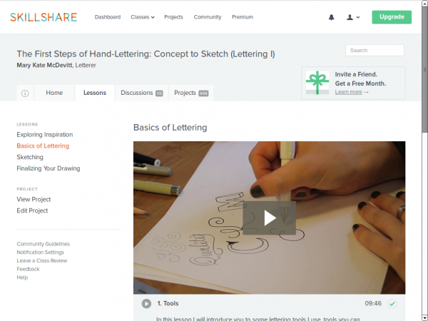 a screenshot of the skillshare website